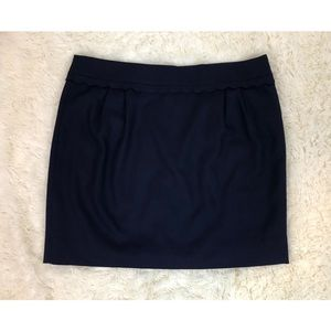 J. Crew Scallop Trim Mini Skirt Navy Blue Wool